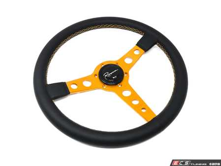 ES#3603887 - MonGL - Monaco Gold Series Steering Wheel - Genuine Leather w/ Gold Stitching - Upgrade your interior styling with a universal, performance styled steering wheel from Renown! Features a 350mm diameter and a 20mm depth. - Renown - Audi BMW Volkswagen Mercedes Benz MINI Porsche