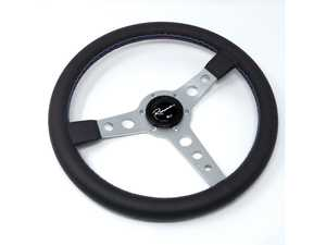 ES#3603895 - MonSML - Monaco Silver Motorsport Series Steering Wheel - Genuine Leather w/ Tricolor Stitching - Upgrade your interior styling with a universal, performance styled steering wheel from Renown! Features a 350mm diameter and a 20mm depth. - Renown - Audi BMW Volkswagen Mercedes Benz MINI Porsche
