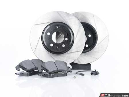 ES#3537734 - 025997ECS0613KT - Performance Front Brake Service Kit - Featuring ECS V4 Slotted rotors and Hawk HPS pads - Assembled By ECS - Audi