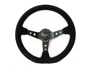 ES#3603849 - 100MS - 100 Motorsport Series Steering Wheel - Alcantara Suede w/ Tricolor Stitching - Upgrade your interior styling with a universal, performance styled steering wheel from Renown! Features a 350mm diameter and 100mm Depth. - Renown - Audi BMW Volkswagen Mercedes Benz MINI Porsche