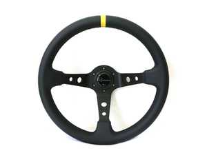 ES#3603839 - 100DLC - 100 Dark Competition Series Steering Wheel - Genuine Leather w/ Yellow Stripe - Upgrade your interior styling with a universal, performance styled steering wheel from Renown! Features a 350mm diameter and 100mm Depth. - Renown - Audi BMW Volkswagen Mercedes Benz MINI Porsche