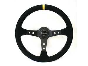 ES#3603842 - 100DSC - 100 Dark Competition Series Steering Wheel - Alcantara Suede w/ Yellow Stripe - Upgrade your interior styling with a universal, performance styled steering wheel from Renown! Features a 350mm diameter and 100mm Depth. - Renown - Audi BMW Volkswagen Mercedes Benz MINI Porsche