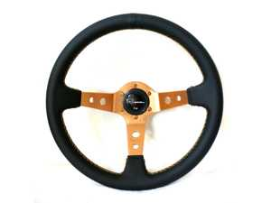 ES#3603843 - 100GL - 100 Gold Series Steering Wheel - Genuine Leather - Upgrade your interior styling with a universal, performance styled steering wheel from Renown! Features a 350mm diameter and 100mm Depth. - Renown - Audi BMW Volkswagen Mercedes Benz MINI Porsche