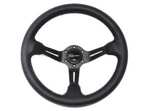 ES#3603868 - ChiDP - Chicane Dark Series Steering Wheel - Genuine Perforated Leather - Upgrade your interior styling with a universal, performance styled steering wheel from Renown! Features a 350mm diameter and a 70mm depth. - Renown - Audi BMW Volkswagen Mercedes Benz MINI Porsche