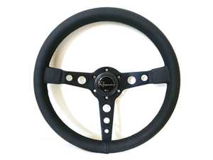 ES#3603884 - MonDL - Monaco Dark Series Steering Wheel - Genuine Leather - Upgrade your interior styling with a universal, performance styled steering wheel from Renown! Features a 350mm diameter and a 20mm depth. - Renown - Audi BMW Volkswagen Mercedes Benz MINI Porsche