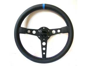 ES#3603889 - MonMLCb - Monaco Motorsport Competition Series Steering Wheel - Genuine Leather w/ Blue Centerline & Tricolor Stitching - Upgrade your interior styling with a universal, performance styled steering wheel from Renown! Features a 350mm diameter and 20mm depth. - Renown - Audi BMW Volkswagen Mercedes Benz MINI Porsche