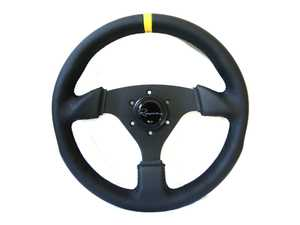 ES#3604409 - CSDLC - Clubsport Dark Competition Series Steering Wheel - Genuine Leather w/ Yellow Centerline - Upgrade your interior styling with a universal, performance styled steering wheel from Renown! Features a 330mm diameter and 30mm depth. - Renown - Audi BMW Volkswagen Mercedes Benz MINI Porsche