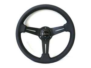 ES#3604418 - mildl - Mille Dark Series Steering Wheel - Genuine Leather - Upgrade your interior styling with a universal, performance styled steering wheel from Renown! Features a 330mm diameter and 30mm depth. - Renown - Audi BMW Volkswagen Mercedes Benz MINI Porsche