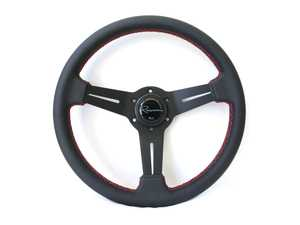 ES#3604421 - milrl - Mille Rosso Series Steering Wheel - Genuine Leather W/ Red Stitching - Upgrade your interior styling with a universal, performance styled steering wheel from Renown! Features a 330mm diameter and 30mm depth. - Renown - Audi BMW Volkswagen Mercedes Benz MINI Porsche