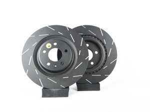 ES#2621352 - USR1846 - Rear Slotted Brake Rotors - Pair (330x22) - Upgrade to a slotted rotor for improved braking - EBC - Audi
