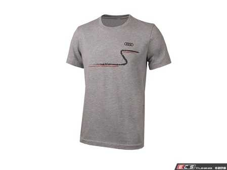 ES#3133447 - ACM3000ATHXL - Quattro S-Curve T-Shirt - Athletic Heather - XL - (NO LONGER AVAILABLE) - You'll always be ready for a cruise on the Audi S-Curve with our quattro S Curve T-Shirt! - Genuine Volkswagen Audi -