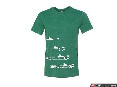 ES#3572018 - ACM3027GRNSM - Audi e-tron Design T-Shirt - Green - Small - The Audi e-tron Design Tee shows a build up that has been respected for generations. - Genuine Volkswagen Audi - Audi BMW Volkswagen Mercedes Benz MINI Porsche