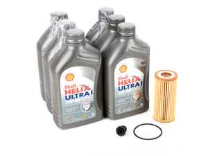 ES#3604043 - 550040754KT - Oil Service Kit - Includes 6 liters of Shell Helix Ultra Synthetic Engine Oil (5w-40), filter, drain plug with o-ring, and oil sticker - Assembled By ECS - Audi