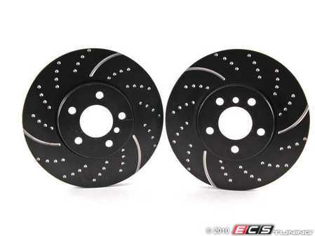 ES#522262 - GD991 - Front Cross Drilled & Slotted Brake Rotors - Pair - EBC Sport Slotted and Dimpled Rotors (332x30) - EBC - BMW