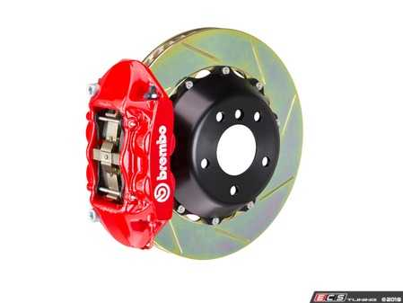 ES#2854416 - 2P2.9014A2 - Brembo GT Rear Big Brake Kit - 2 Piece Slotted Rotors (380x28) - Featuring Red 4 piston calipers, stainless brake lines and Brembo Sport brake pads - Brembo - Audi