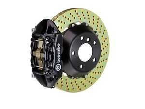 ES#2853956 - 2P1.9014A1 - Brembo GT Rear Big Brake Kit - 2 Piece Drilled Rotors (380x28) - Featuring Black 4 piston calipers, stainless brake lines and Brembo Sport brake pads - Brembo - Audi