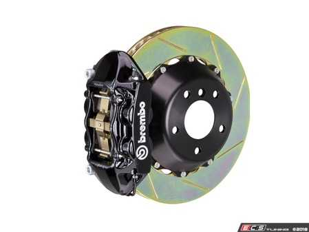 ES#2854415 - 2P2.9014A1 - Brembo GT Rear Big Brake Kit - 2 Piece Slotted Rotors (380x28) - Featuring Black 4 piston calipers, stainless brake lines and Brembo Sport brake pads - Brembo - Audi