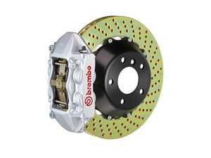 ES#2853958 - 2P1.9014A3 - Brembo GT Rear Big Brake Kit - 2 Piece Drilled Rotors (380x28) - Featuring Silver 4 piston calipers, stainless brake lines and Brembo Sport brake pads - Brembo - Audi