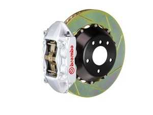 ES#2854417 - 2P2.9014A3 - Brembo GT Rear Big Brake Kit - 2 Piece Slotted Rotors (380x28) - Featuring Silver 4 piston calipers, stainless brake lines and Brembo Sport brake pads - Brembo - Audi