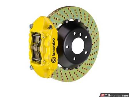 ES#2853959 - 2P1.9014A5 - Brembo GT Rear Big Brake Kit - 2 Piece Drilled Rotors (380x28) - Featuring Yellow 4 piston calipers, stainless brake lines and Brembo Sport brake pads - Brembo - Audi