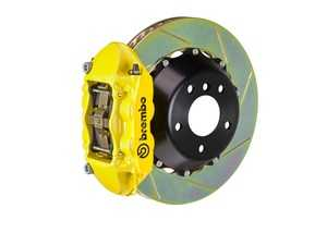 ES#2854418 - 2P2.9014A5 - Brembo GT Rear Big Brake Kit - 2 Piece Slotted Rotors (380x28) - Featuring Yellow 4 piston calipers, stainless brake lines and Brembo Sport brake pads - Brembo - Audi