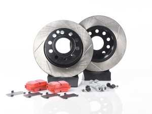 ES#3536851 - 025997ECS0356KT - Performance Rear Brake Service Kit (253x10) - Featuring ECS V4 slotted rotors with electrostatic coating and EBC RedStuff performance pads - Assembled By ECS - Audi Volkswagen