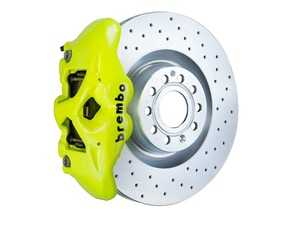 ES#3610818 - 1S4.8002A7 - Brembo GT Front Big Brake Kit - 1 Piece Drilled Rotors (345x30) - Featuring Fluorescent Yellow 4 piston calipers, stainless brake lines, and Brembo Sport brake pads - Brembo - Audi Volkswagen
