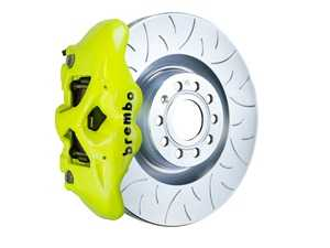 ES#3610819 - 1S5.8002A7 - Brembo GT Front Big Brake Kit - 1 Piece Slotted Type 3 Rotors (345x30) - Featuring Fluorescent Yellow 4 piston calipers, stainless brake lines, and Brembo Sport brake pads - Brembo - Audi Volkswagen