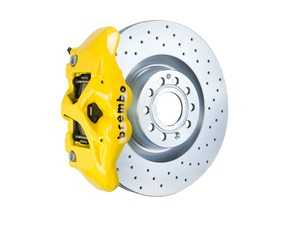 ES#3610820 - 1S4.8002A5 - Brembo GT Front Big Brake Kit - 1 Piece Drilled Rotors (345x30) - Featuring Yellow 4 piston calipers, stainless brake lines, and Brembo Sport brake pads - Brembo - Audi Volkswagen
