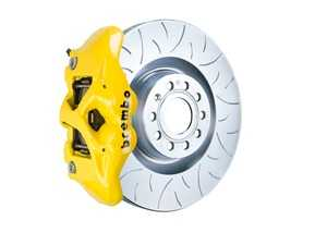ES#3611992 - 1S5.8002A5 - Brembo GT Front Big Brake Kit - 1 Piece Slotted Type 3 Rotors (345x30) - Featuring Yellow 4 piston calipers, stainless brake lines, and Brembo Sport brake pads - Brembo - Audi Volkswagen