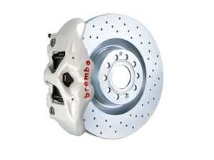ES#3611993 - 1S4.8002A6 - Brembo GT Front Big Brake Kit - 1 Piece Drilled Rotors (345x30) - Featuring White 4 piston calipers, stainless brake lines, and Brembo Sport brake pads - Brembo - Audi Volkswagen