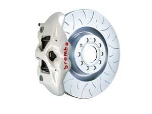 ES#3611994 - 1S5.8002A6 - Brembo GT Front Big Brake Kit - 1 Piece Slotted Type 3 Rotors (345x30) - Featuring White 4 piston calipers, stainless brake lines, and Brembo Sport brake pads - Brembo - Audi Volkswagen