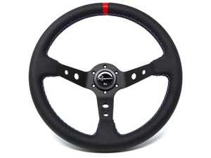 ES#3611995 - 100MLCR - 100 Motorsport Competition Series Steering Wheel - Genuine Leather w/ Tricolor Stitching & Red Leather Centerline - Upgrade your interior styling with a universal, performance styled steering wheel from Renown! Features a 350mm diameter and 100mm Depth. - Renown - Audi BMW Volkswagen Mercedes Benz MINI Porsche