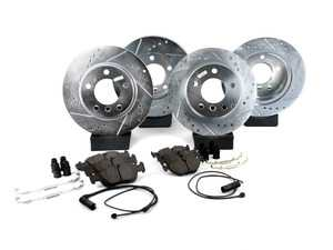 ES#3157098 - K498 - Z23 Evolution Sport Brake Kit - Front and Rear - Includes drilled and slotted rotors, carbon fiber infused ceramic brake pads, and all new premium hardware. - Power Stop - BMW