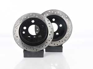 """ES#3524846 - 34216799383kt3KT - Cross Drilled & Slotted Rear Brake Rotors - Pair 10.19"""" (259x10) - This design removes performance robbing outgas and material dust caused by braking - StopTech - MINI"""