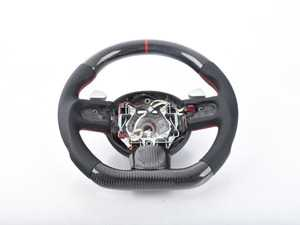 ES#3612953 - MC2-CFS-SPS - MINI Cooper Carbon Fiber Flat Bottom Steering Wheel Gen 2 - Silver Paddle Shifters - Hand made carbon fiber inserts on the top and bottom with perforated leather/red stitching on the sides - Euro Impulse - MINI