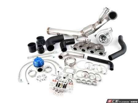 """ES#4043255 - ATP-VVW-309 -  Garrett GEN2 GTX3076R Turbo Kit - Blue Wastegate/Black Hoses  - Featuring a host of components - GT/T3 flanged manifold, Garrett GEN2 GTX3076R turbo (650HP), Tial 44mm wastegate (Blue) with V-band connections, 3"""" Stainless V-band downpipe, and stainless coolant/oil lines and fittings - ATP - Audi Volkswagen"""