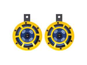 ES#3508543 - 922000731 - HELLA Sharptone Horn Set - Black coated metal housing with yellow protective grille - Hella - Audi BMW Volkswagen Mercedes Benz MINI Porsche