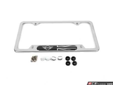 ES#3173295 - 82122446875 - MINI Black Jack/Wings License Plate Frame - Chrome - Priced Each - Surrounds the plate in MINI style - Genuine MINI - MINI