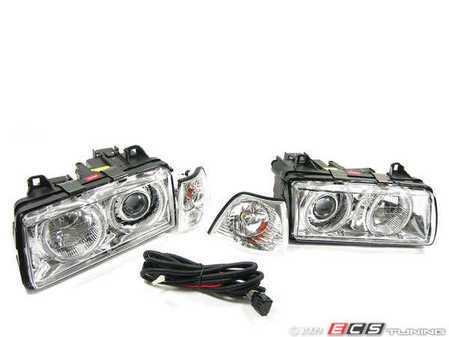ES#251500 - FKFS015-2KT - Angel Eye Headlights With Indicators - Chrome - Improve lighting & aesthetics with this Euro headlight kit with angel eyes - FK - BMW
