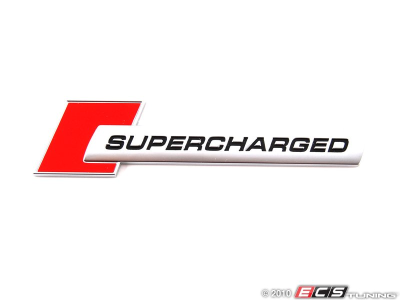 Ecs News Red Chrome Quot Supercharged Quot Badge For Audi 3 0t