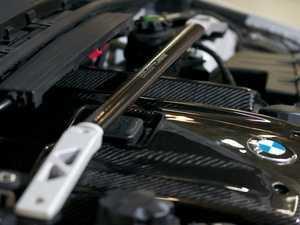 ES#3161760 - E9X5251413T-SKT - E9X 325/328/330 Flat Oval Carbon Fiber Strut Brace With Silver End Plates - ECS - BMW
