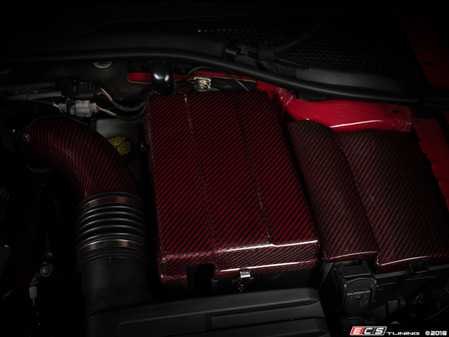 ES#3618990 - 014728ECS02KT - Red Carbon Kevlar Battery Cover Kit - Ditch your cloth battery cover and upgrade to an ECS Aluminum / Red Carbon Kevlar Battery Cover Kit! - ECS - Audi Volkswagen