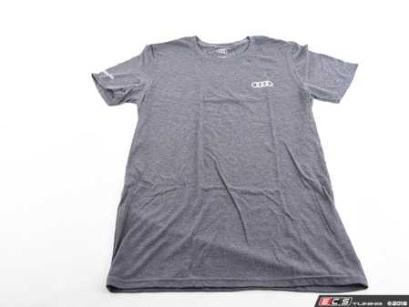 ES#3133460 - ACM3001CHASM - Quattro T-Shirt - Charcoal - Small - Sometimes less is more. Make yourself known with the quattro T-Shirt. 100% combed and ringspun cotton. - Genuine Volkswagen Audi - Audi BMW Volkswagen Mercedes Benz MINI Porsche