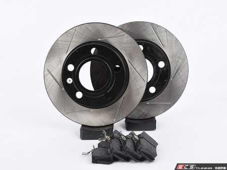 ES#3537471 - 025997ECS0456KT - Performance Rear Brake Service Kit - Featuring ECS V4 Slotted rotors and Hawk HPS pads - Assembled By ECS - Audi