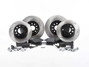ES#3536741 - 025997ECS0252KT - Performance Front & Rear Brake Service Kit (312x25/272x10) - Featuring ECS V4 slotted rotors and Hawk HPS pads - Assembled By ECS - Volkswagen