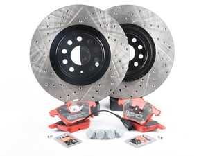 ES#3536780 - 025997ECS0257KT - Performance Front Brake Service Kit (345x30) - Featuring ECS V4 drilled and slotted rotors and EBC RedStuff pads - Assembled By ECS - Volkswagen