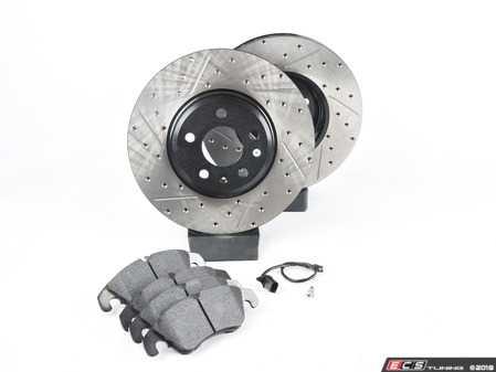 ES#3537731 - 025997ECS0610KT - Performance Front Brake Service Kit - Featuring ECS V4 Cross Drilled & Slotted rotors and Hawk HPS pads - Assembled By ECS - Audi