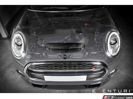 ES#3638750 - EVE-F56-CF-INTLC - F56 F55 F57 MINI Cooper S/JCW - Black Carbon Intake Post LCI - Designed for optimum performance while adding a unique style and functional carbon fiber scoop ~2018/2019 ON+ Check MAF Sensor as this Post LCI has a Slanted base design sensor part for the mount to the tube housing - Eventuri - MINI