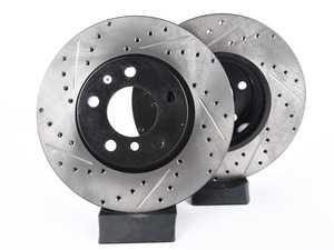 ES#3033156 - 34106787490CDS - Cross-Drilled & Slotted Brake Rotors - Front  - This design removes performance robbing outgas and material dust caused by braking - StopTech - BMW